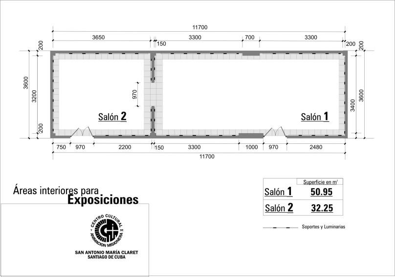 Plano de la Galería San Antonio María Claret. Salones 1 y 2