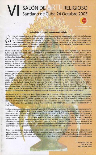 Portada del Catálogo del VI SAR
