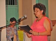 Janet durante la premiación del VI Salón de Arte Religioso, en 2006