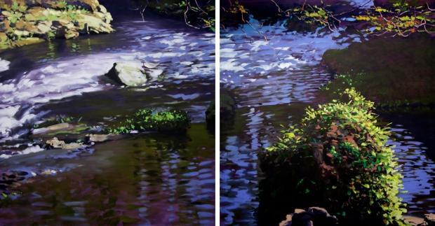 Almendares , 2016. Díptico. Óleo / lienzo, 113 x 240 cm