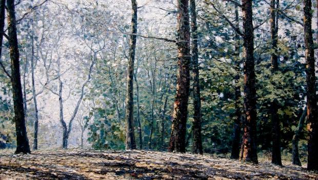 Área Europea, Jardín Botánico Nacional, 2008. Óleo / cartón, 30 x 52 cm