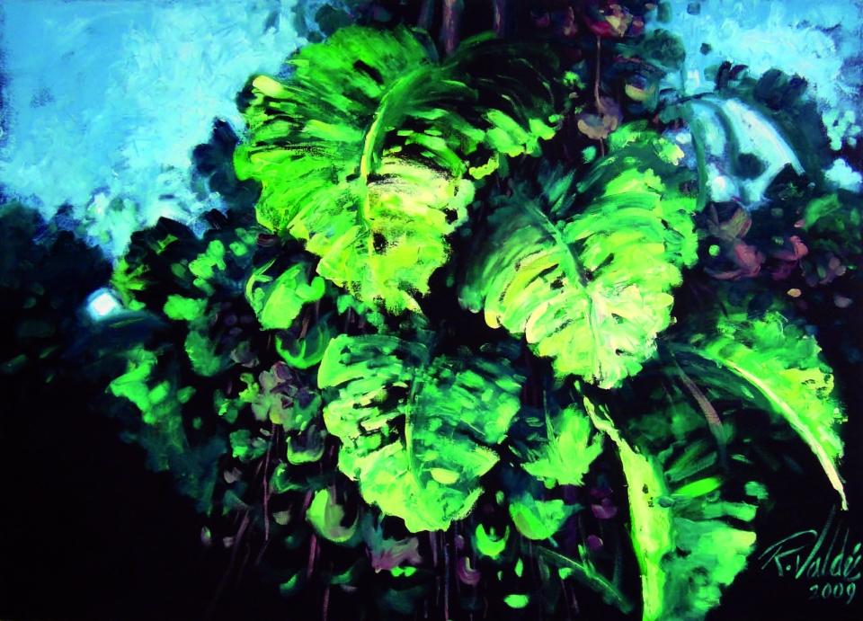 De la serie Macronaturas, Composición en verdes y azules, 2009. Óleo / lienzo, 100 x 135 cm, Col. Daniel Rodríguez