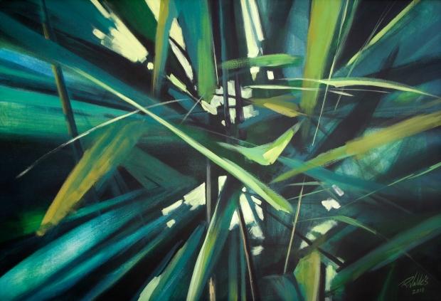 De la serie Macronaturas, Zoom a la vegetación, 2010. Acrílico / lienzo, 84 x 125 cm, Col. Yassel González