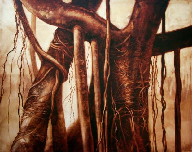 De la serie Macronaturas, Hucho, 2011. Óleo / lienzo, 124 x 154 cm