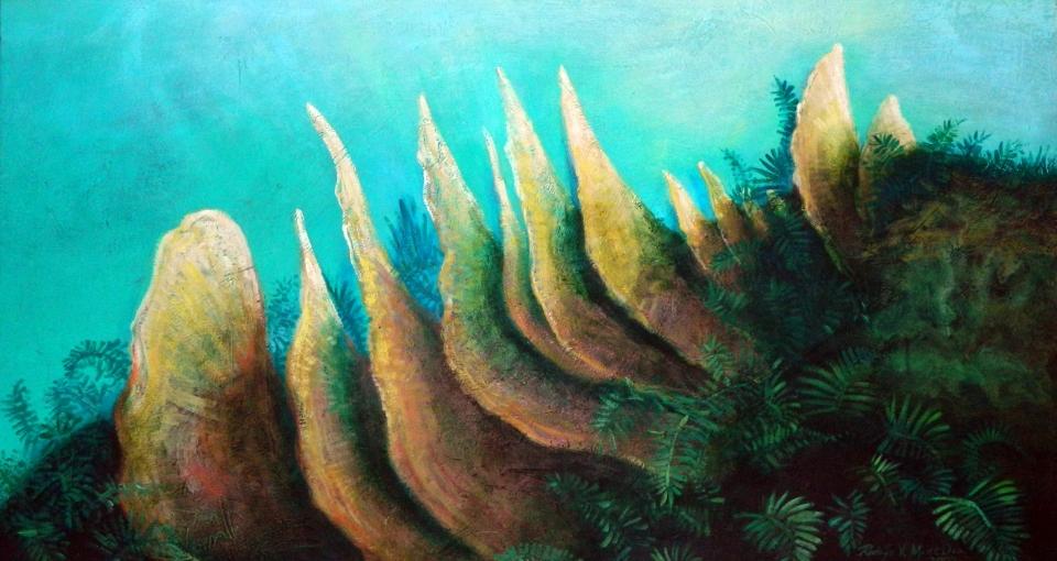 Hongo Oreja de Palo, 2004. Técnica mixta / lienzo, 70 x 125 cm, Col. Francisco Martínez