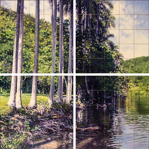 Patria, 2015-2016. Instalación. Políptico. Óleo /lienzo. Boceto de 40 x 40 cm y 4 estructuras de 200 x 200 cm compuestas cada una por 25 cuadros de 40 x 40 cm. Dimensiones variables.